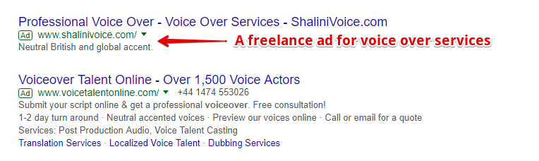 Freelance Ad on Google