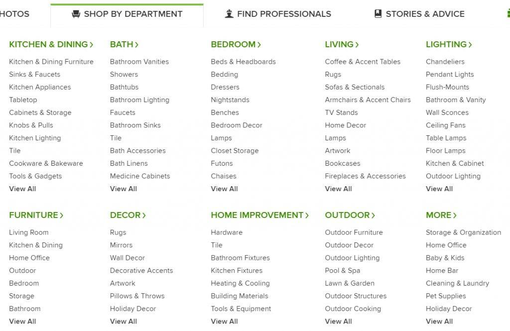 Product Categories on Houzz