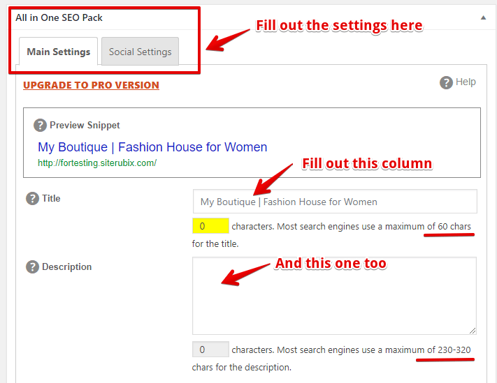 All In One SEO Main and Social Settings