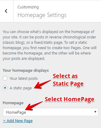 Customizing Homepage Settings on Storefront
