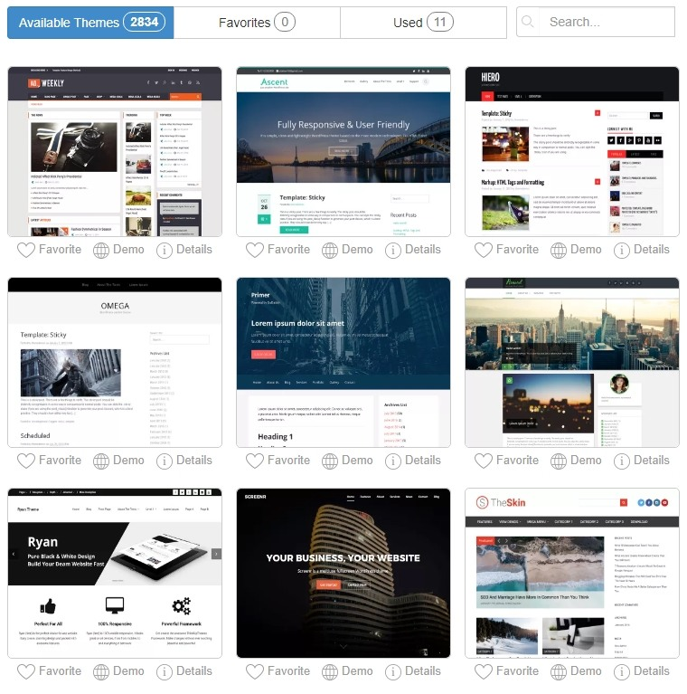 Examples of WordPress Themes on SiteRubix
