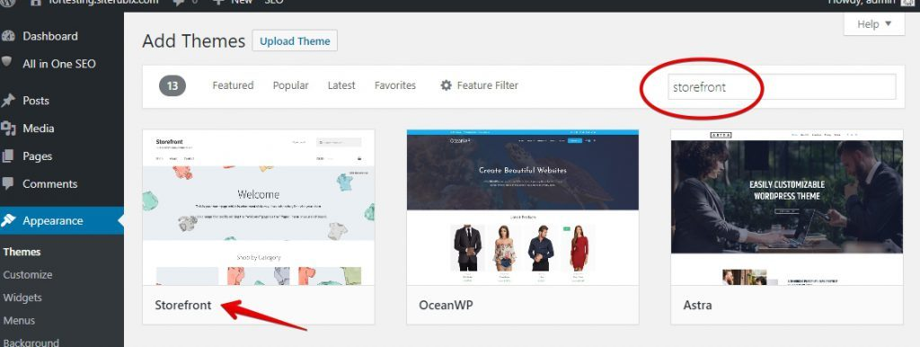 Finding Storefront Theme on WordPress