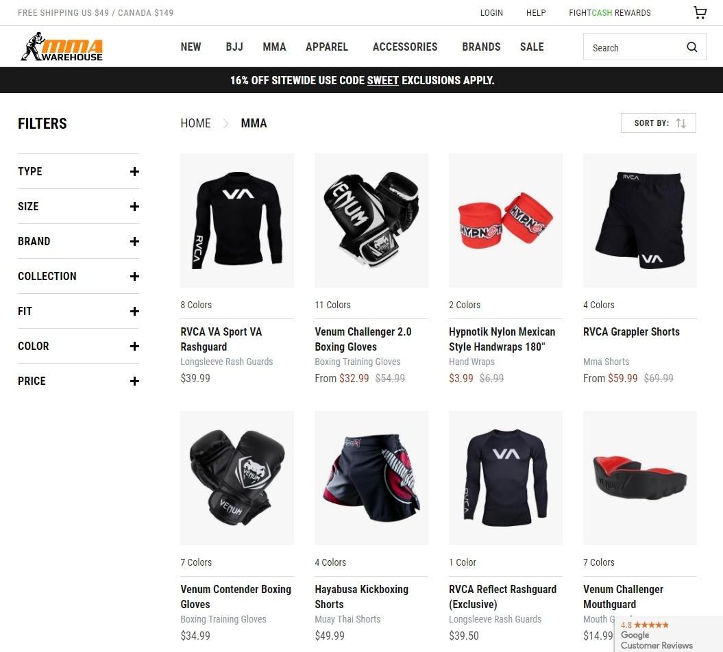 MMAWarehouse Online Store