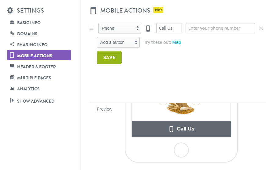 Mobile Actions on Strikingly