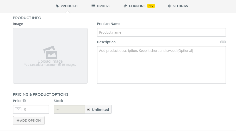 Product Listing Features on Strikingly