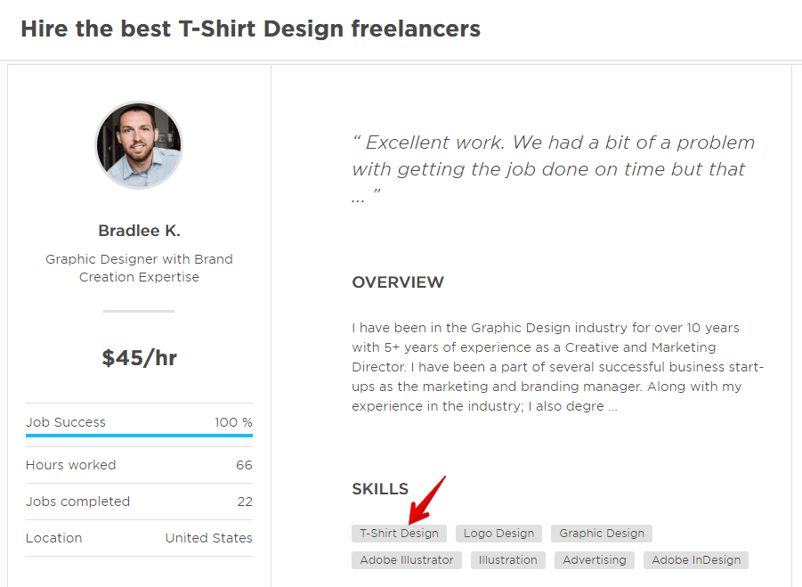 T shirt Designer Profile