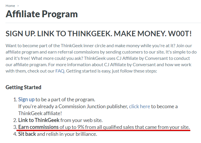 ThinkGeek Affiliate Program