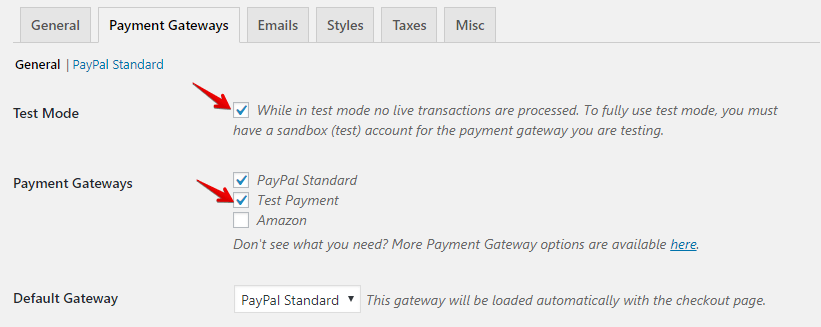 Select Test Mode for EDD Payment Gateways