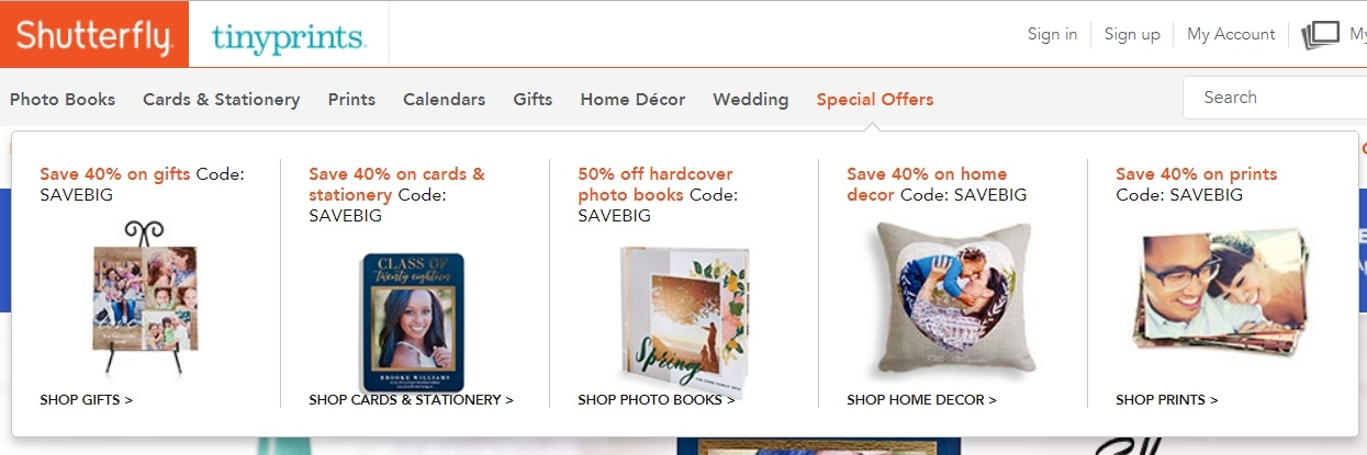 Shutterfly Product Offers