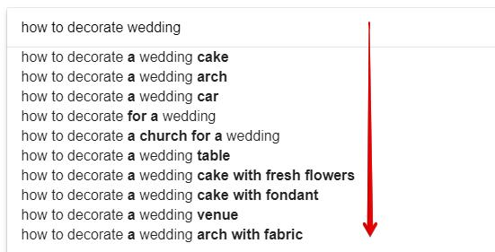 Keywords Suggestions for Wedding Decor