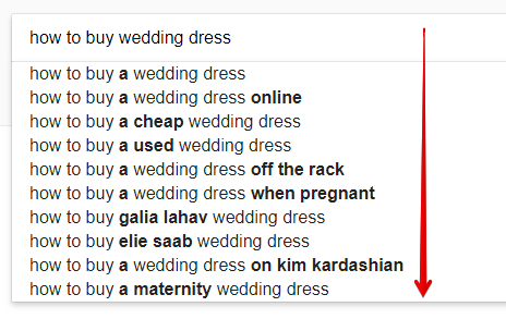 Keywords Suggestions for Wedding Dresses