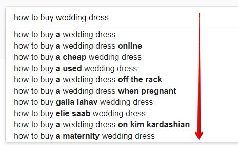 Keywords Suggestions for Wedding Dresses