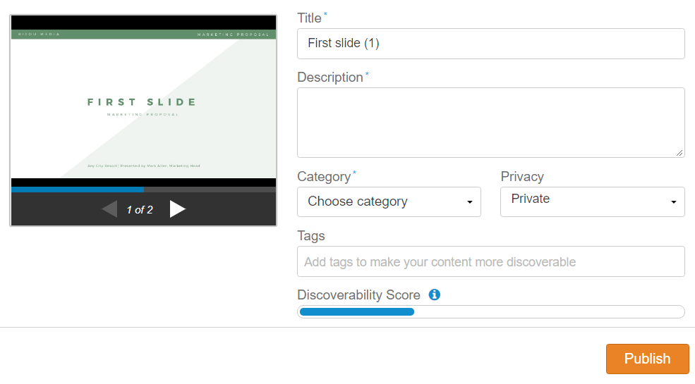 Uploading Interface on SlideShare