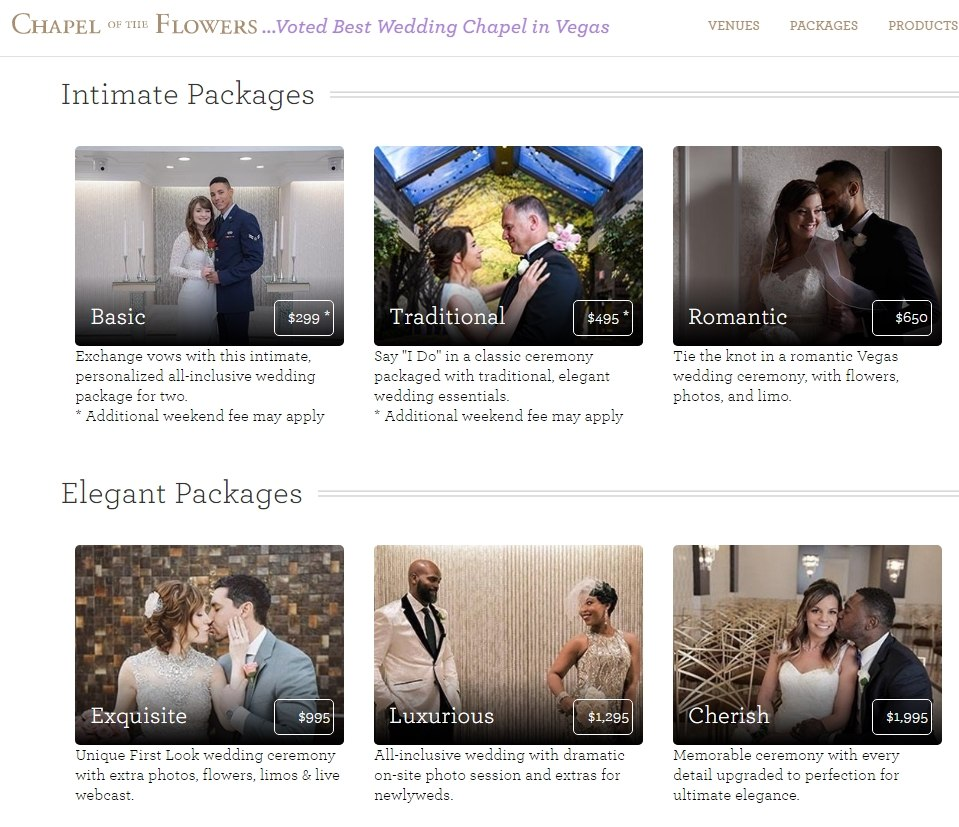 Wedding Packages by The Little Chapel