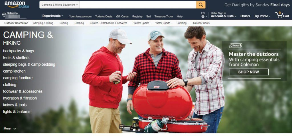 Amazon Camping and Hiking Homepage