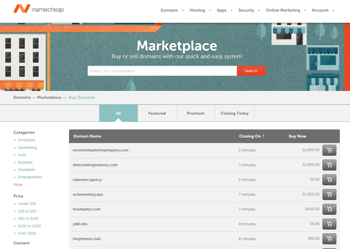 Domains for Sale on NameCheap