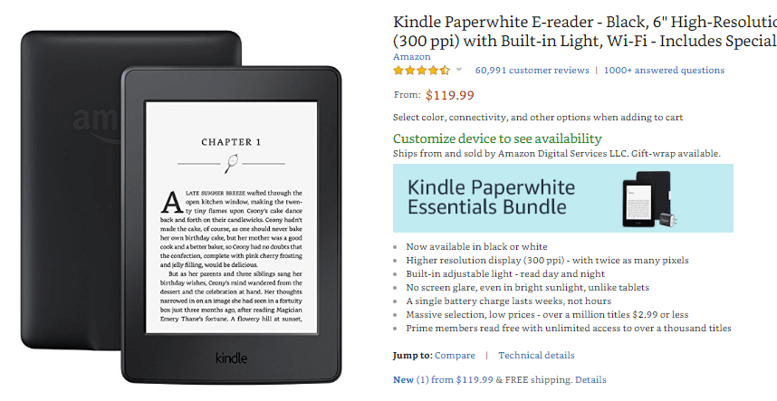 Kindle Paperwhite E-reader on Amazon