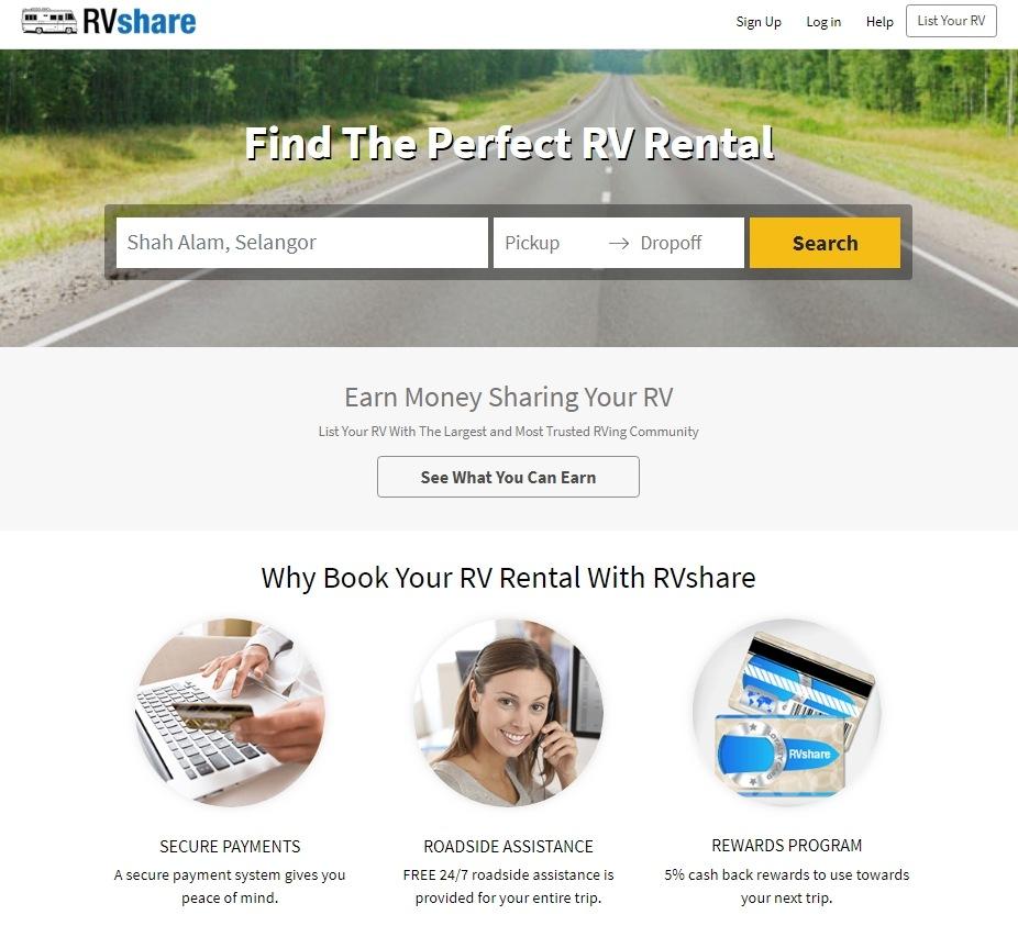 RVShare Homepage
