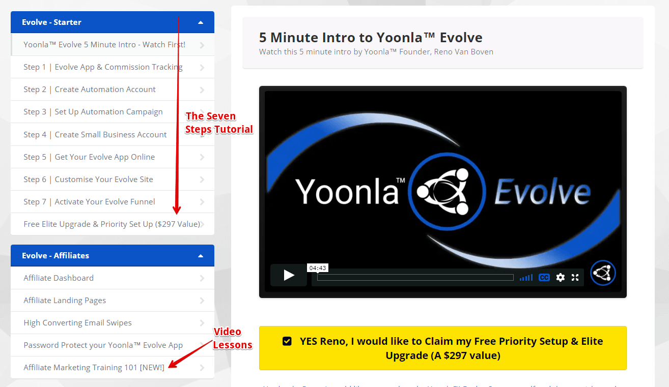Yoonla Evolve Tutorial Dashboard