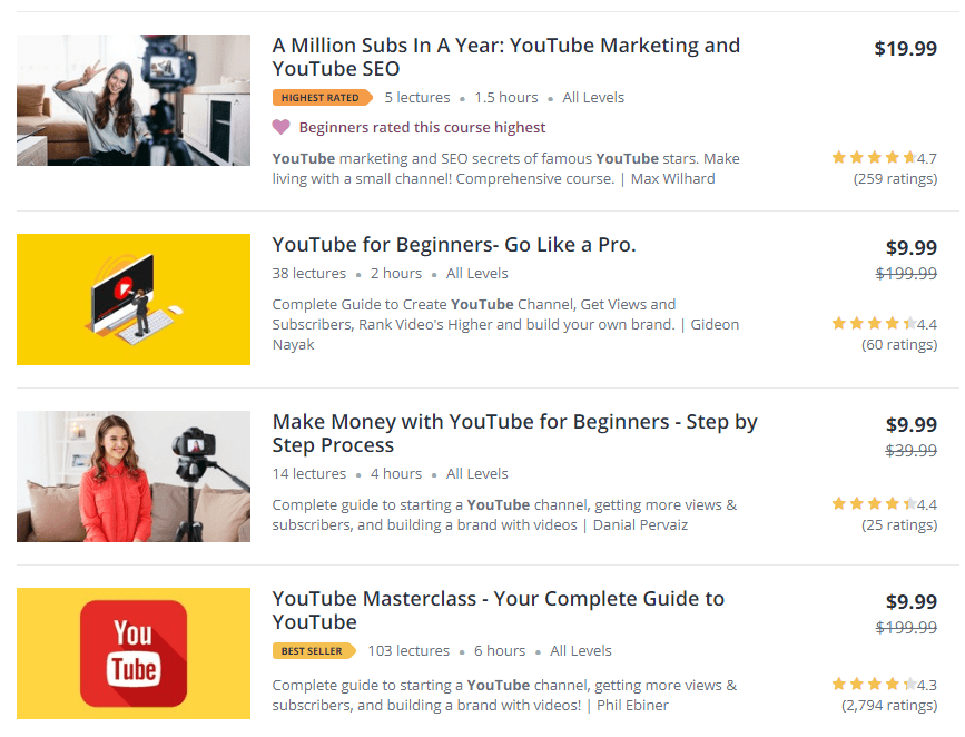 YouTube Courses on Udemy