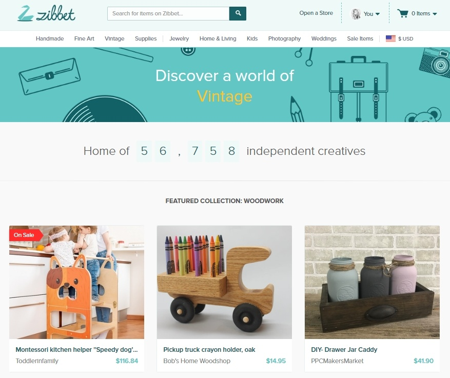 Zibbet Marketplace Homepage