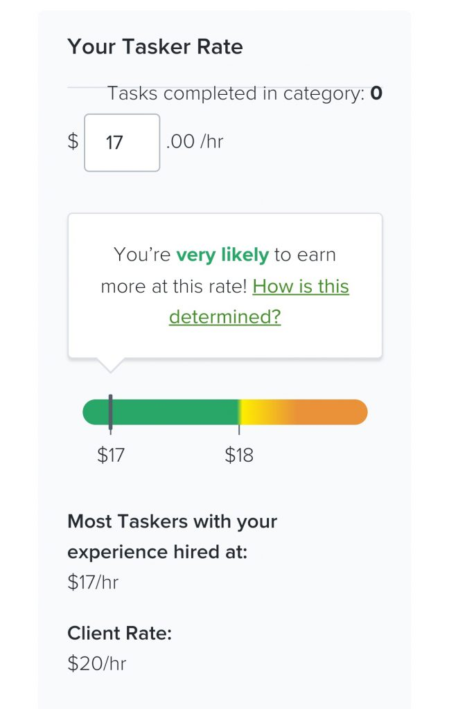 Taskers Rate