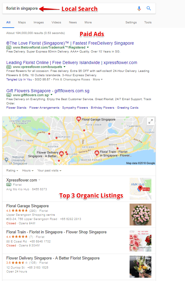 Top 3 Organic Listing for Local Business