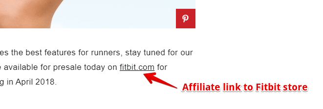 Fitbit Affiliate Link on Blog