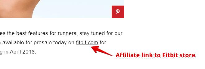 Fitbit Affiliate Link on Blog