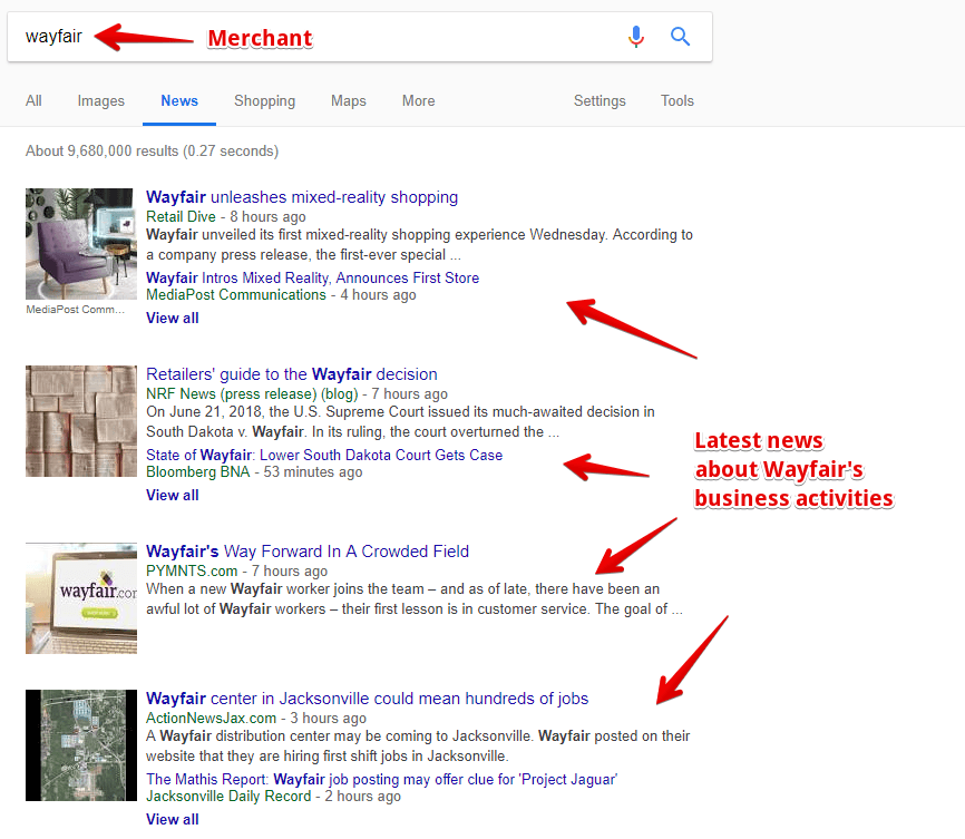 Merchant Updates on Google News