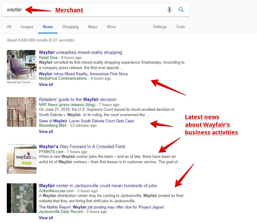 Merchant Updates on Google News