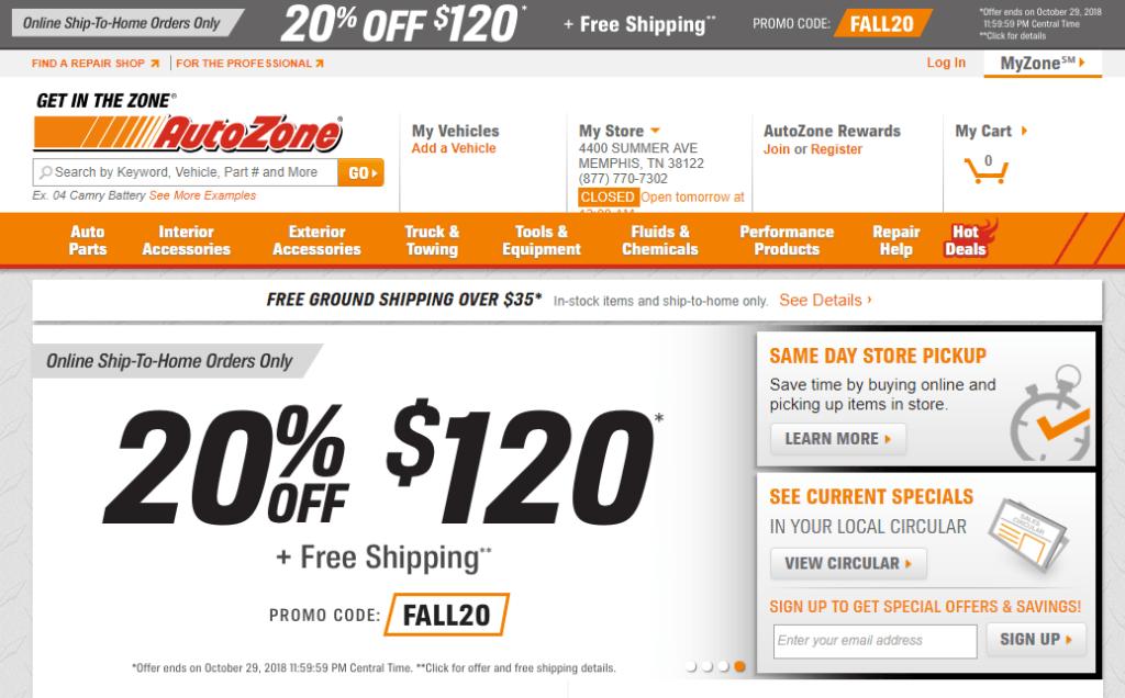 Autozone Homepage