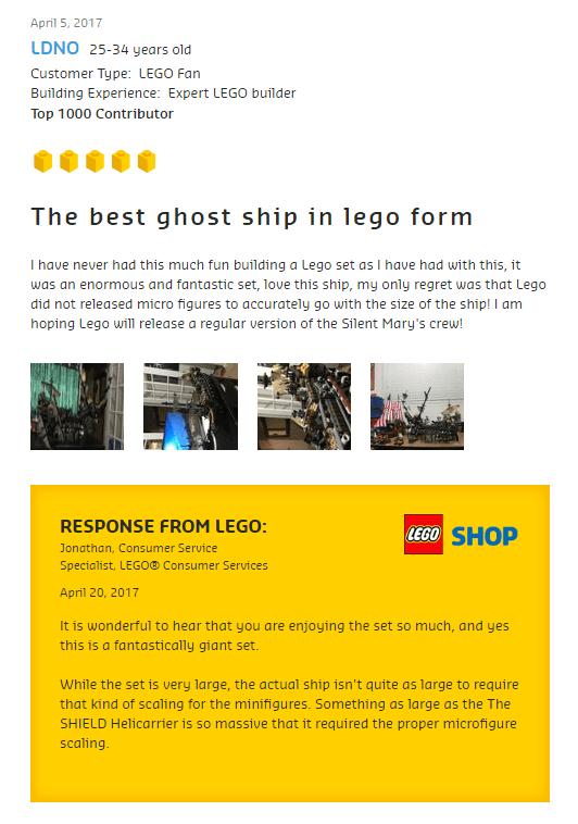 Customer Reviews on Lego Website