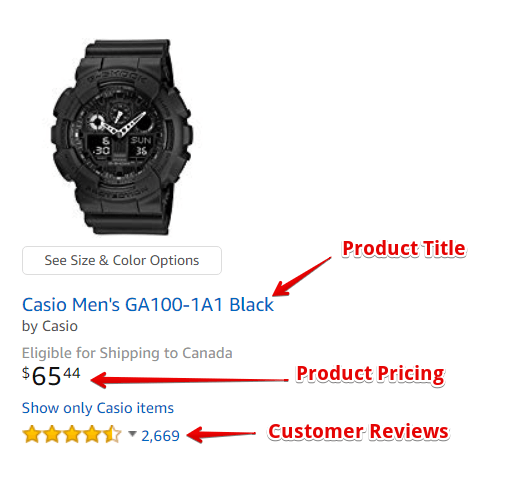 Example of a Product Listing on Amazon