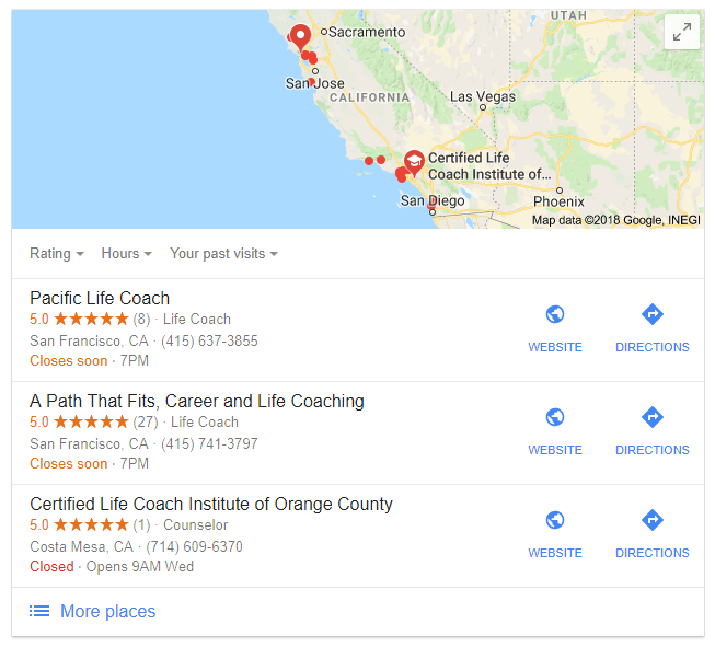 Life Coach Business Listing In California