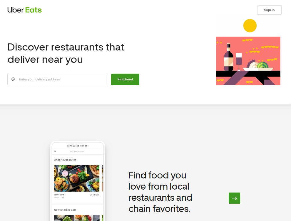 UberEats Homepage
