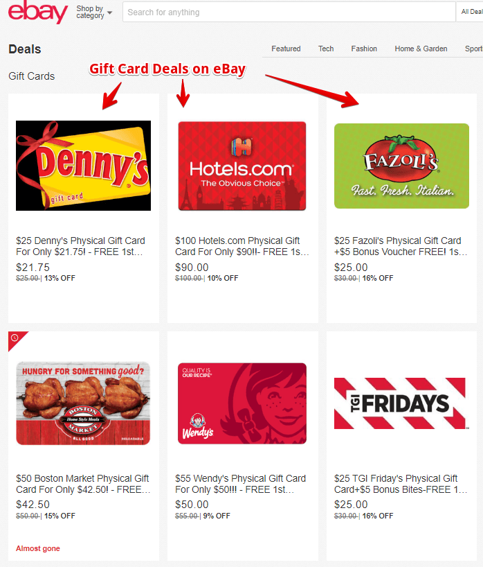 Gift Card Deals on eBay