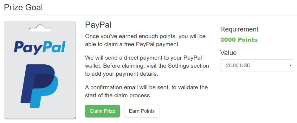 Prize Goal For PayPal Cash