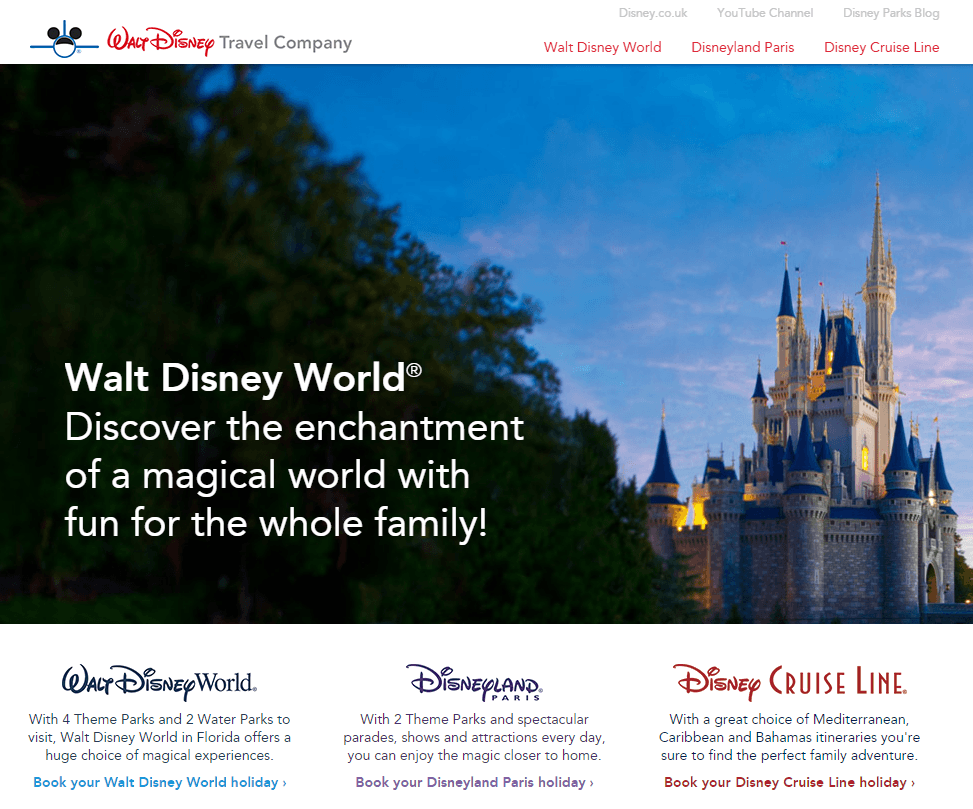 Walt Disney Travel Company Official Website