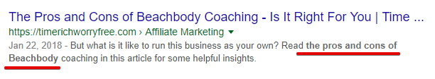 An Example of Meta Description with a Targeted Keyword