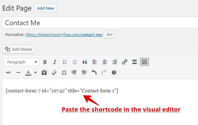 Contact Form 7 Short Code