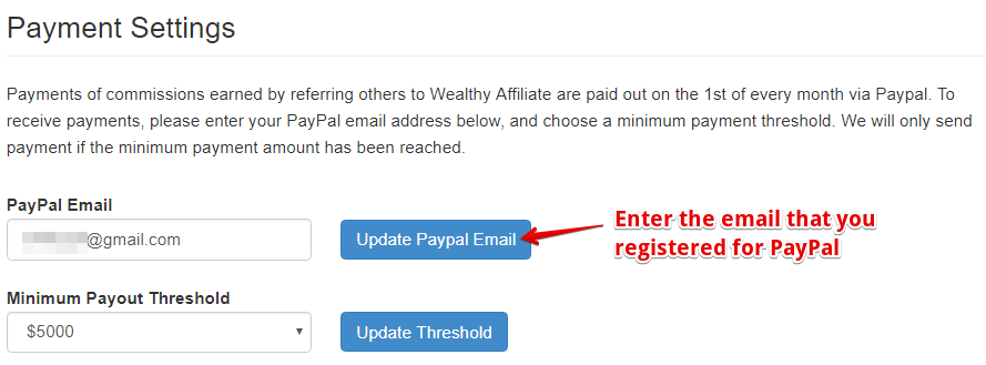 Payment Settings at Wealthy Affiliate