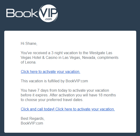 Vacation Incentive Offer from BookVIP