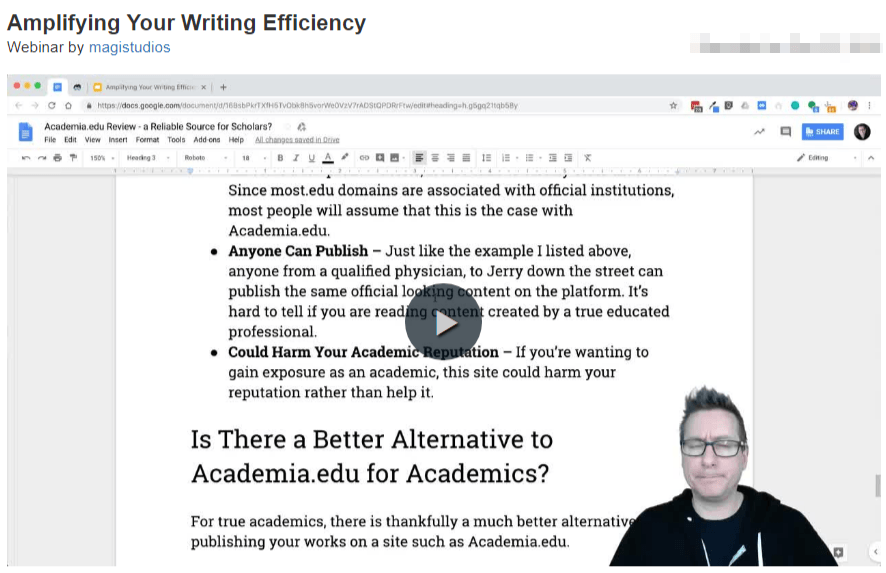 Video Webinar - Amplifying Your Writing Efficiency