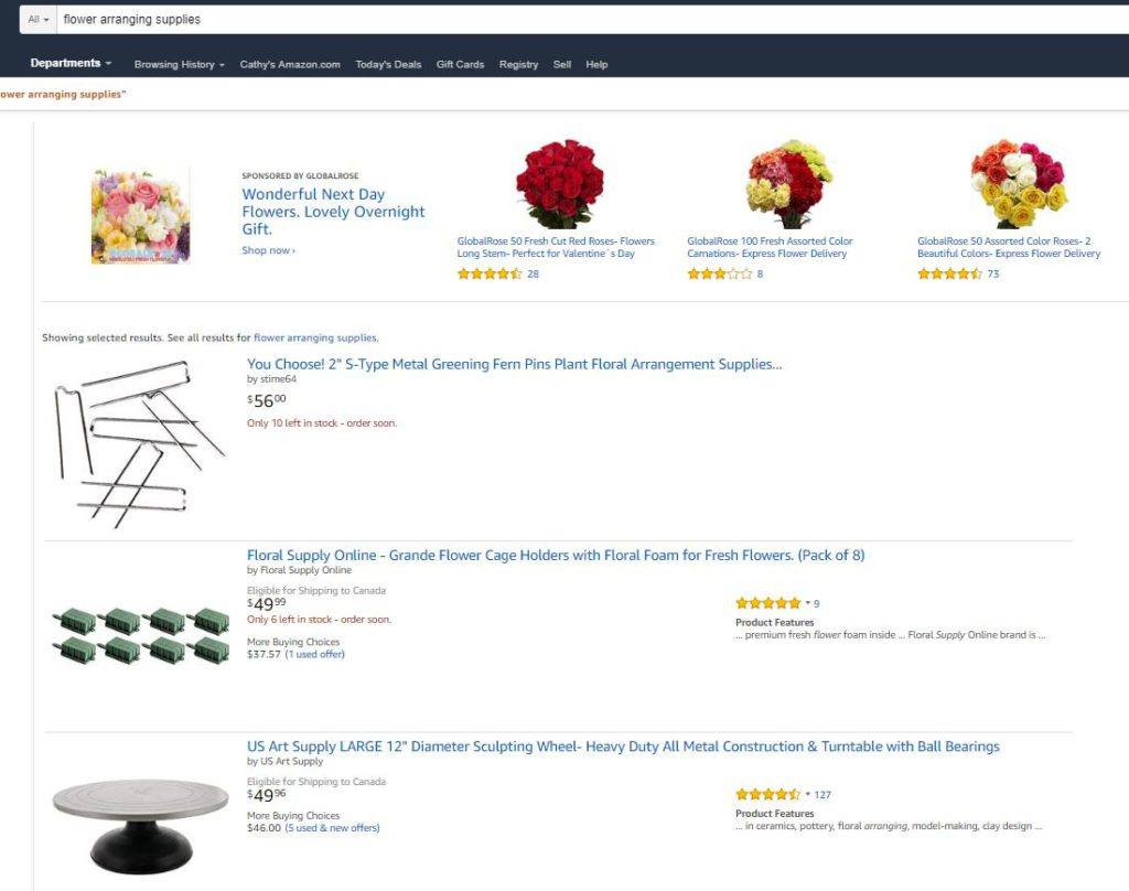 Flower Arranging Supplies on Amazon