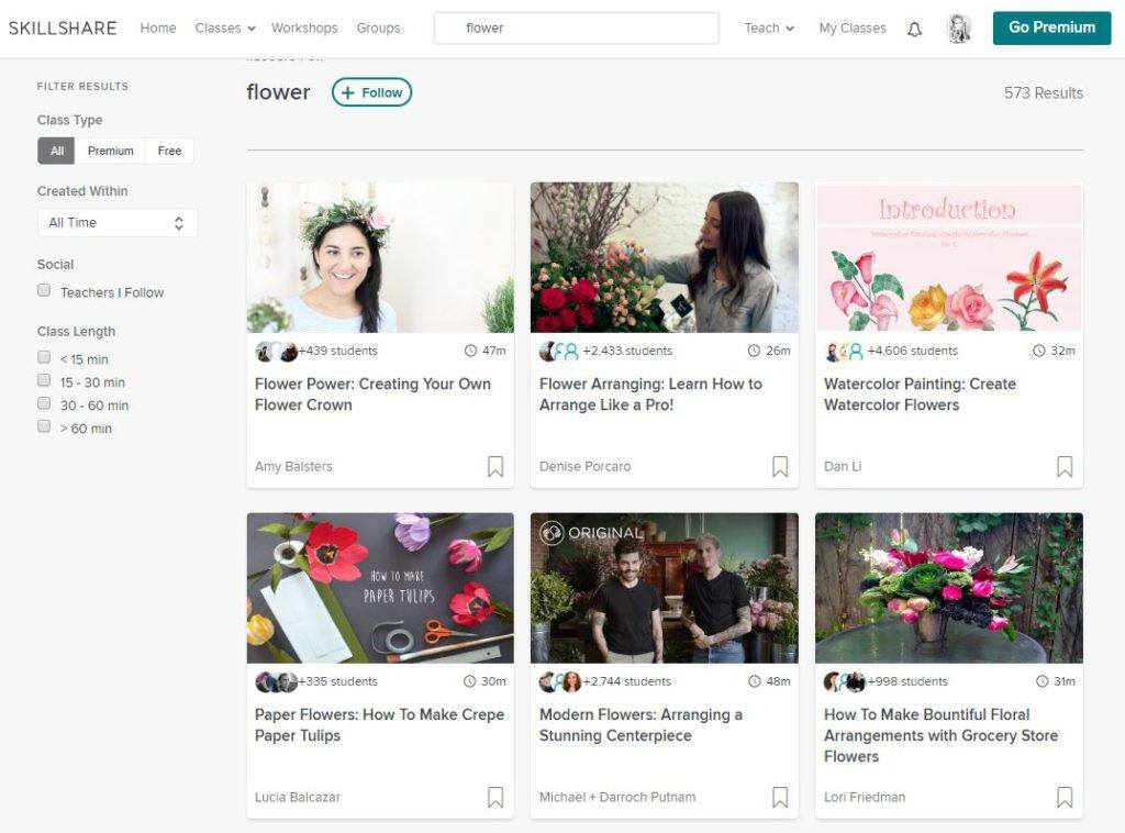 Flower Related Classes on SkillShare