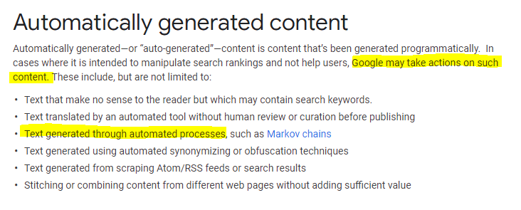 Google Webmaster Guidelines on Automatically Generated Content