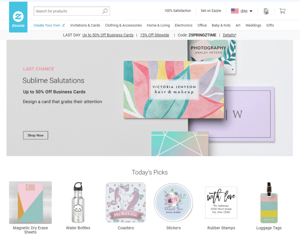 Zazzle Homepage