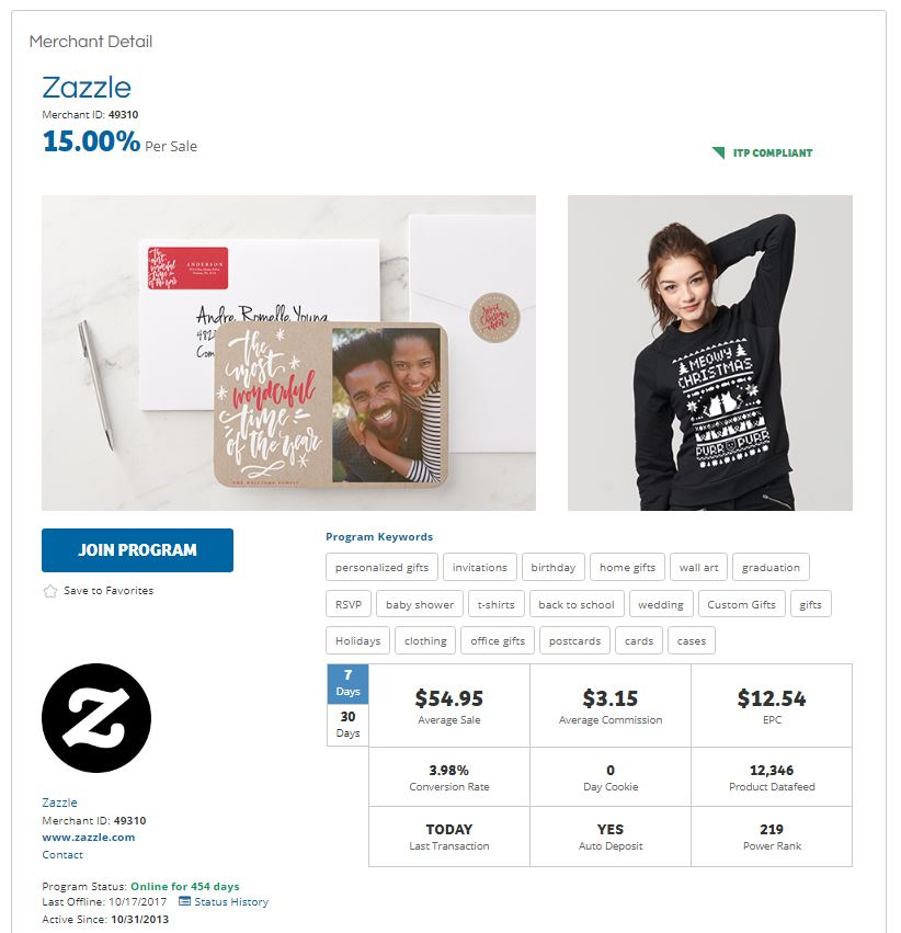 Zazzle Merchant Detail on ShareASale