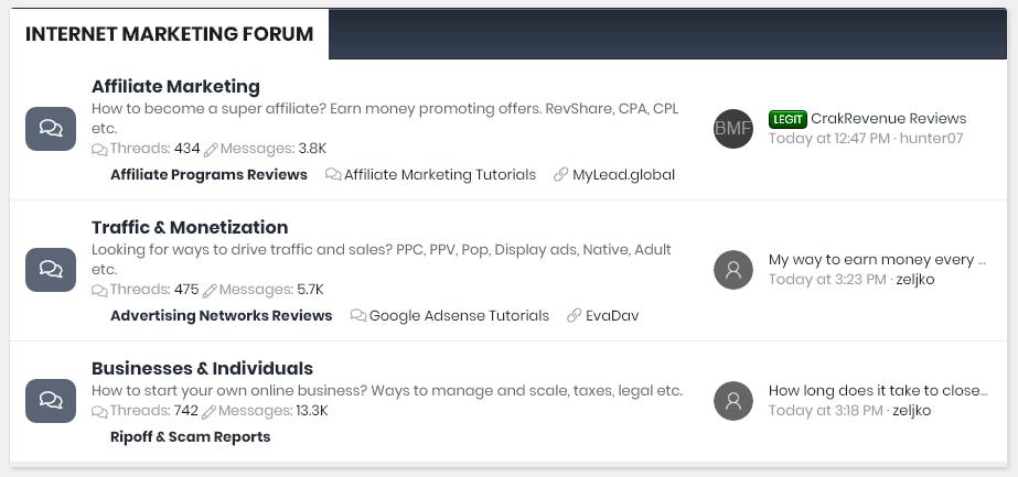 Internet Marketing Section on Beer Money Forum